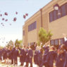 Graduates of The Vanguard School celebrate by tossing their caps